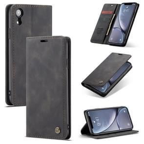 CaseMe-013 multifunctionele Retro Frosted horizontale Flip Leather Case for iPhone XR, met kaartsleuf & houder & Wallet(Black)