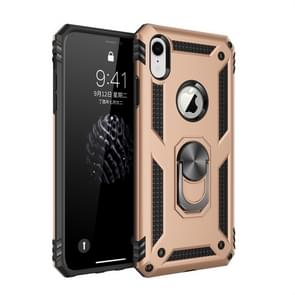 Sergeant Armor Shockproof TPU + PC Protective Case for iPhone XR  with 360 Degree Rotation Holder (Gold)