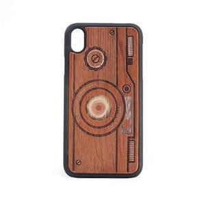 Camera Pattern Shockproof PC + Wood Protective Case for iPhone XR