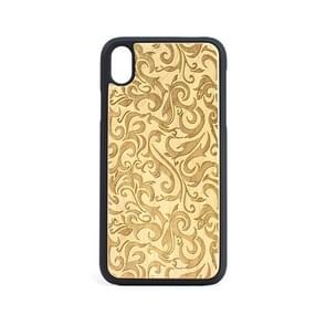 Flower Pattern Shockproof PC + Wood Protective Case for iPhone XR