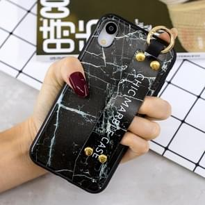 Marble Pattern Shockproof TPU Case for iPhone XR, with Wristband & Holder(Black)