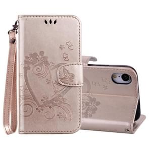 Embossed Heart Butterfly Pattern Horizontal Flip Leather Case for iPhone XR, with Card Slot & Holder & Wallet & Lanyard (Gold)