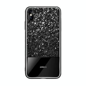 JOYROOM Glittery Powder Shockproof Tempered Glass Protective Case for iPhone XR (Black)