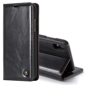 CaseMe Business Style Crazy Horse Texture Horizontal Flip PU Leather Case for iPhone XR, with Holder & Card Slots (Black)