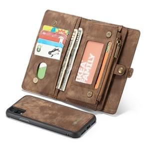 CaseMe Detachable Multifunctional Horizontal Flip Leather Case for iPhone XR, with Card Slot & Holder & Zipper Wallet & Photo Frame (Brown)