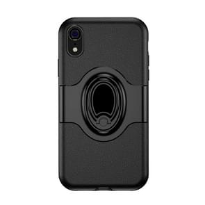 Shockproof Full Coverage Case for iPhone XR, with Magnetic Rotatable Ring Holder(Black)