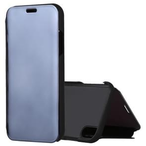 Electroplating Mirror Horizontal Flip Leather Case for iPhone XR, with Holder(Black)