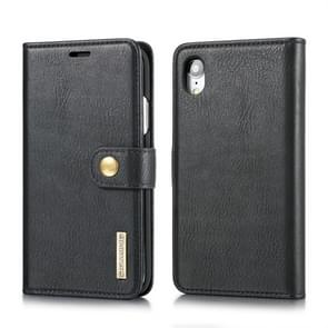 DG.MING Crazy Horse Texture Flip Detachable Magnetic Leather Case for iPhone XR, with Holder & Card Slots & Wallet (Black)