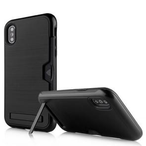 Brushed King Series Ultrathin TPU + PC Protective Case for iPhone XR, with Card Slot & Holder (Black)