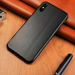 360 Degree Full Coverage Pasted Top-grain Leather Case for iPhone XR (Black)