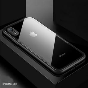 CAFELE TPU + Tempered Glass Rear Cover Shockproof Protective Case for iPhone XR(Black)
