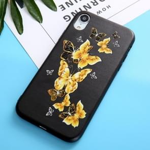 Black Gold Butterfly Pattern Oil Embossed TPU Case for iPhone XR