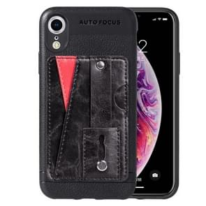 Litchi Texture Full Coverage Shockproof TPU Case for iPhone XR, with Card Slots & Holder (Black)