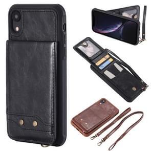 Vertical Flip Fashion Shockproof Leather Case for iPhone XR, with Holder & Photo Frame & Card Slots & Lanyard (Black)