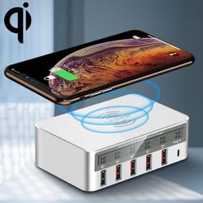 WLX-818F 6 in 1 10W QC3.0 draadloze laden + lader van de USB-C / Type-C + 4 USB-poorten met intelligente LCD-scherm