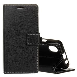 Litchi Texture Horizontal Flip Leather Case for iPhone XR, with Holder & Card Slots & Wallet(Black)
