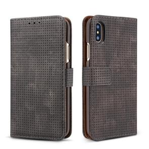 Retro Style Mesh Breathable Horizontal Flip Leather Case  for iPhone XR, with Card Slot & Holder & Wallet(Black)