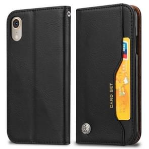 Knead Skin Texture Horizontal Flip Leather Case for iPhone XR, with Photo Frame & Holder & Card Slots & Wallet (Black)