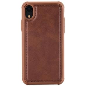 Magnetic Shockproof TPU + PC + PU Leather Pasted Case for iPhone XR(Coffee)