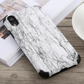 Reizen vak vorm geschilderd marmer beschermende TPU + PC Case voor iPhone XR (wit)