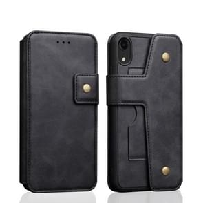 Cowhide Texture Magnetic Absorption Detachable Horizontal Flip Leather Case for iPhone XR, with Holder & Card Slots & Wallet (Black)