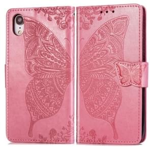 Butterfly Love Flowers Embossing Horizontal Flip Leather Case for iPhone XR, with Holder & Card Slots & Wallet & Lanyard (Pink)