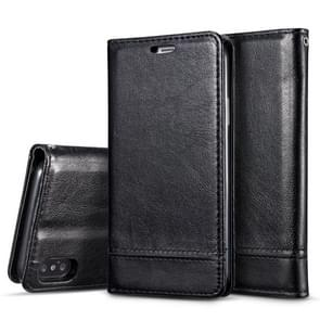 Double-sided Absorption Splicing Horizontal Flip Leather Case for iPhone XR, with Holder & Card Slots & Lanyard (Black)