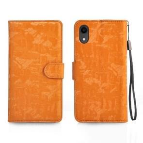Horizontale Flip 3D verlopende kleur PU + TPU Leather Case for iPhone XR, met houder & Card Slots & fotolijstjes (oranje)