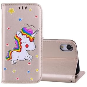 Glitter Powder Unicorn Pattern Horizontal Flip Leather Case for iPhone XR, with Holder & Wallet & Card Slots & Photo Frame (Gold)