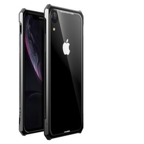 Snap-on Aluminum Frame and Tempered Glass Back Plate Case for iPhone XR(Black)
