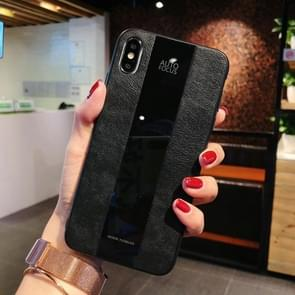 Shockproof Litchi Texture + Glass Case for iPhone XR (Black)