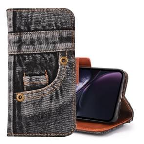 Denim Pattern TPU Case with Card Slot & Wallet & Holder For  iPhone XR  6.1 inch(Black)