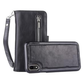2 in 1 Zipper Pattern PU+ TPU Leather Case with Card Slot & Wallet & Photo Frame For  iPhone XR  6.1 inch(Black)