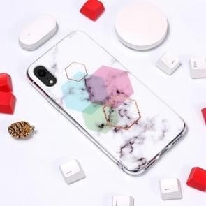 Marmeren patroon TPU zachte beschermende geval voor iPhone XR (zeshoek)