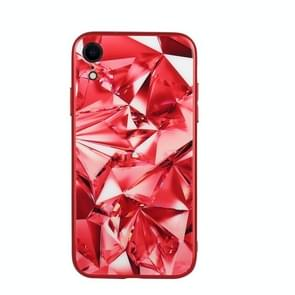 Fashion Diamond Pattern Anti-scratch Gradient Color Glass Case for iPhone XR (Red)