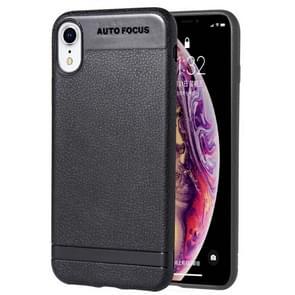 Litchi textuur TPU Shockproof Case voor iPhone XR (zwart)