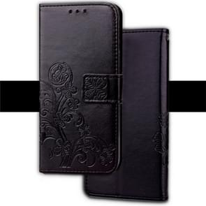 Embossed Pattern PU + TPU Horizontal Flip Leather Case for iPhone XR, with Holder & Card Slots & Wallet (Black)