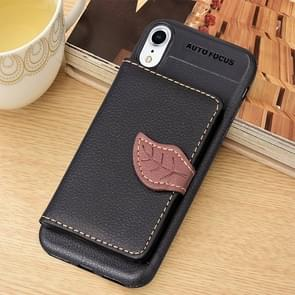 Litchi textuur PU + TPU horizontale Flip lederen hoes for iPhone XR  met houder & Card Slots & portemonnee & Photo Frame (zwart)