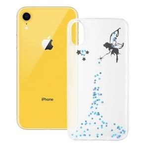Epoxy Angel patroon zachte geval voor iPhone XR 6.1 inch(Blue)