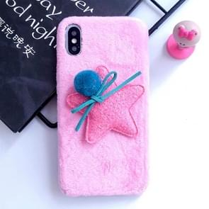 3D Fur Ball & Star Plush Case for iPhone XS / X (Pink)