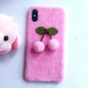 3D Fur Ball Cherry Plush Case for iPhone XS / X (Pink)