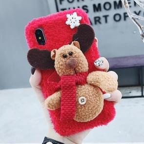 3D Elk Plush Case for iPhone XS / X (Red)