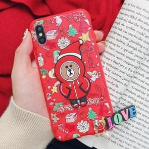Christmas Bear Paster Pattern TPU Case for iPhone XS / X, with Pendant