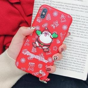 Christmas Santa Claus Paster Pattern TPU Case for iPhone XS / X, with Pendant