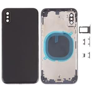 Terug te dekken met camera lens & SIM-kaart lade & kant toetsen voor de iPhone XS (zwart)