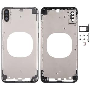 Transparent Back Cover with Camera Lens & SIM Card Tray & Side Keys for iPhone XS (Black)