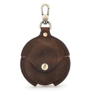 CF1111 Voor Huawei FreeBuds 3 Crazy Horse Texture Clamshell oortelefoon Beschermende lederen hoes met haak (koffie)