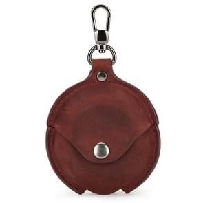 CF1111 Voor Huawei FreeBuds 3 Crazy Horse Texture Clamshell oortelefoon beschermende lederen hoes met haak (Wijn rood)