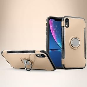 Magnetic 360 Degrees Rotation Ring Armor Protective Case for  iPhone XR(Gold)