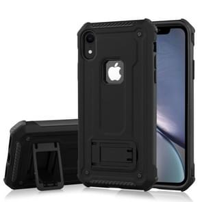 Shockproof PC + TPU Armor Protective Case for iPhone XR, with Holder(Black)